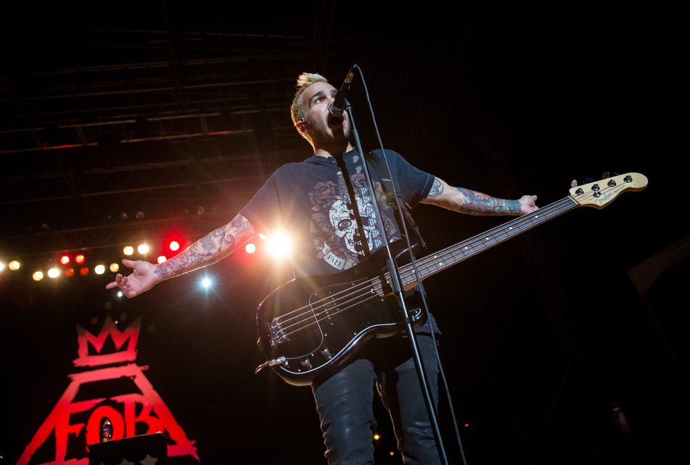 "Fall Out Boy bassist Pete Wentz performs ""The Phoenix"" with the band during a Grandstand concert at the Illinois State Fairgrounds, Saturday, Aug. 15, 2015, in Springfield, Ill. Justin L. Fowler/The State Journal-Register"