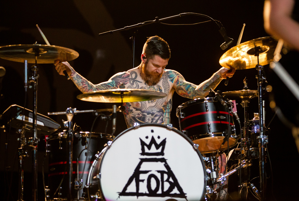 "Fall Out Boy drummer Andy Hurley performs ""Sugar"" with the band during a Grandstand concert at the Illinois State Fairgrounds, Saturday, Aug. 15, 2015, in Springfield, Ill. Justin L. Fowler/The State Journal-Register"
