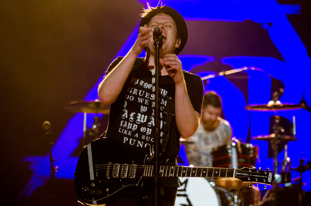 "Fall Out Boy lead singer Patrick Stump performs ""Irresistible"" with the band during a Grandstand concert at the Illinois State Fairgrounds, Saturday, Aug. 15, 2015, in Springfield, Ill. Justin L. Fowler/The State Journal-Register"