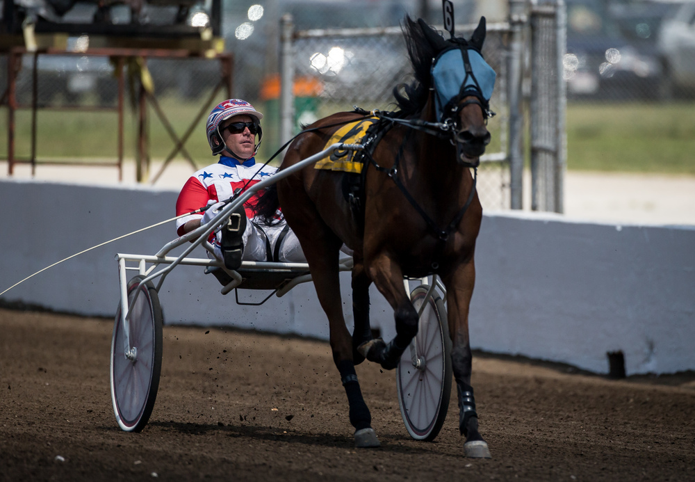 Driver Casey Leonard takes the victory with Cougar Lady in the Non-Winners of 2 Pari-mutuel Races or $4,000 LT during harness racing at the Illinois State Fairgrounds, Saturday, Aug. 15, 2015, in Springfield, Ill. Justin L. Fowler/The State Journal-Register
