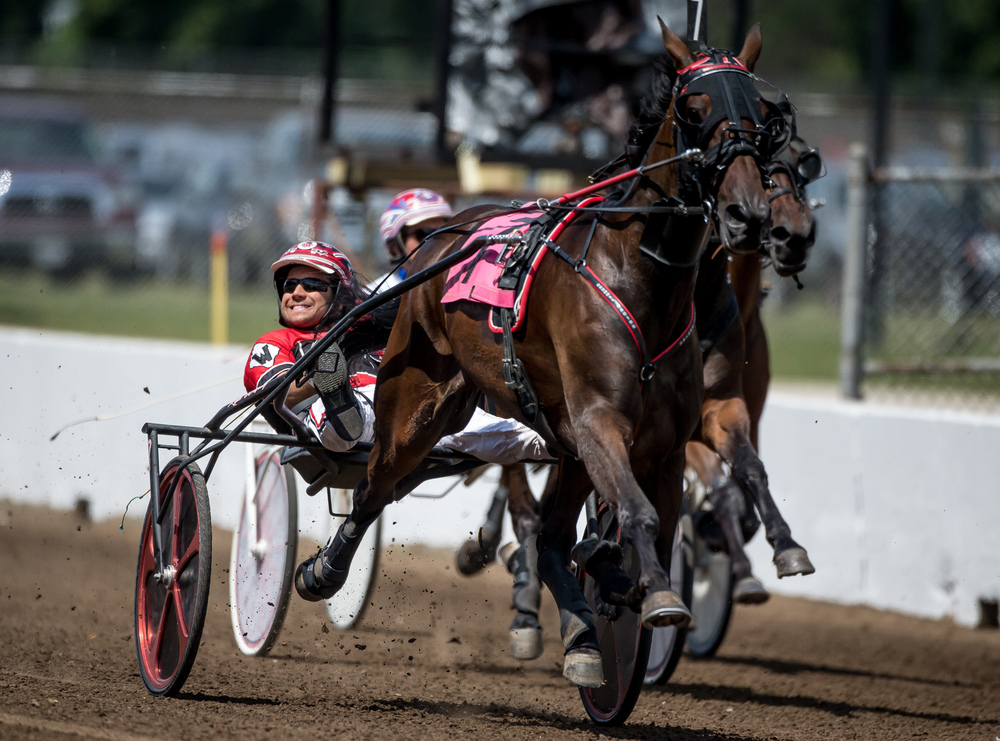 Driver Kyle Wilfong smiles as he crosses the finish line for a win with Fox Valley Yoko in the Illinois State Fair Colt Stakes 3 Year Old Fillies (Illinois Conceived & Foaled) during harness racing at the Illinois State Fairgrounds, Saturday, Aug. 15, 2015, in Springfield, Ill. Justin L. Fowler/The State Journal-Register