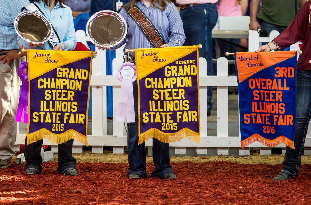 Banners for the Grand Champions await the winners during the Parade of Champions in the Coliseum at the Illinois State Fairgrounds, Saturday, Aug. 15, 2015, in Springfield, Ill. Justin L. Fowler/The State Journal-Register