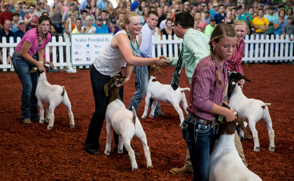Skylynn Fleming of Iroquois County wins the Jr. Grand Champion Meat Goat competition during the Parade of Champions in the Coliseum at the Illinois State Fairgrounds, Saturday, Aug. 15, 2015, in Springfield, Ill. Justin L. Fowler/The State Journal-Register