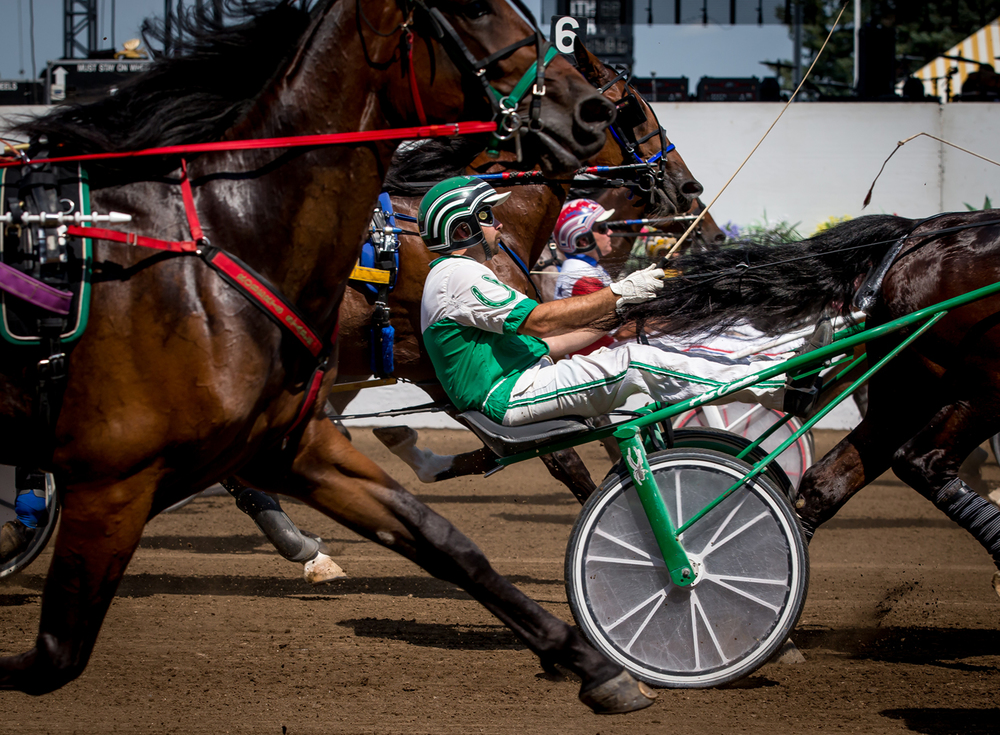 Pat Curtin drives Dr. Venkman out of the start in the Illinois State Fair Colt Stakes 2 Year Old Colts & Geldings (Illinois Conceived & Foaled) during harness racing at the Illinois State Fairgrounds, Friday, Aug. 14, 2015, in Springfield, Ill. Justin L. Fowler/The State Journal-Register