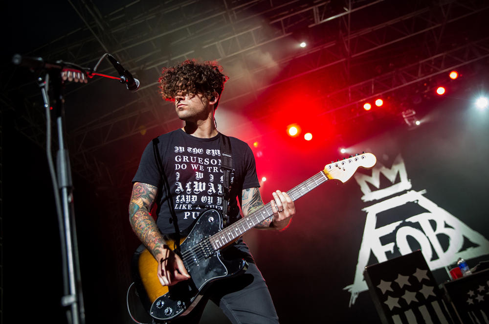 "Fall Out Boy guitarist Joe Trohman performs ""Sugar"" with the band during a Grandstand concert at the Illinois State Fairgrounds, Saturday, Aug. 15, 2015, in Springfield, Ill. Justin L. Fowler/The State Journal-Register"