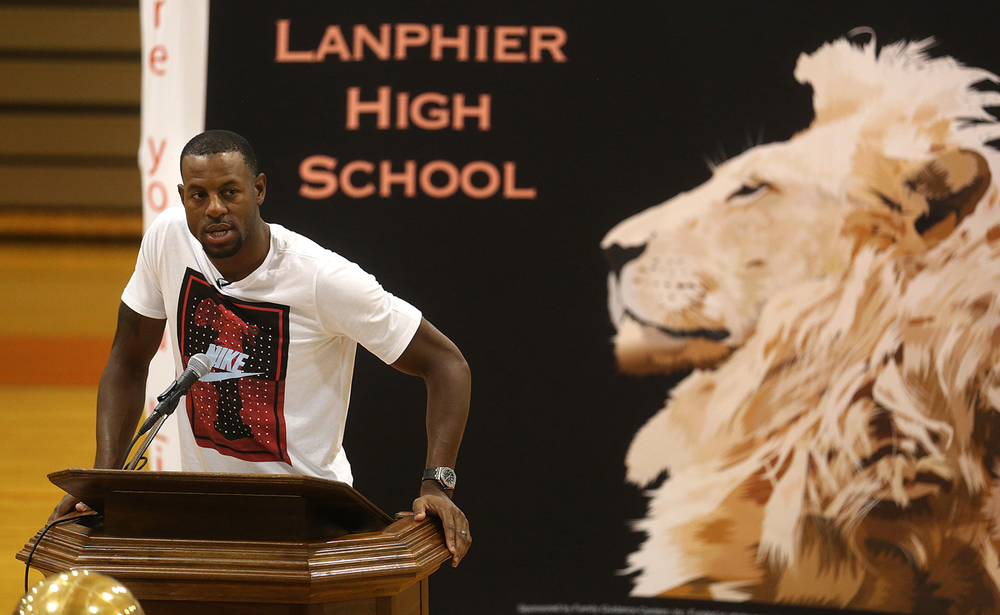 Lanphier High School graduate Andre Iguodala speaks during a ceremony in his honor at the school Saturday August 15, 2015. As a member of the 2015 NBA Finals champion Golden State Warriors, Iguodala was named the NBA Finals MVP. David Spencer/The State Journal-Register