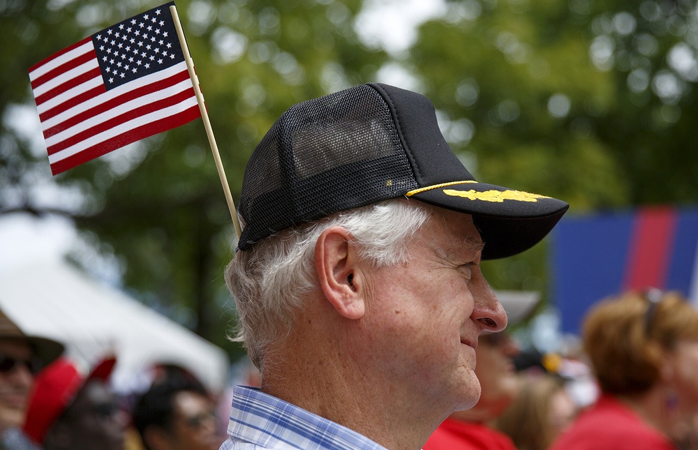 Richard Reynolds of Frankfort listens to speakers at the Republican Day rally on the Director's Lawn at the Illinois State Fair Wednesday, Aug. 19, 2015. Rich Saal/The State Journal-Register