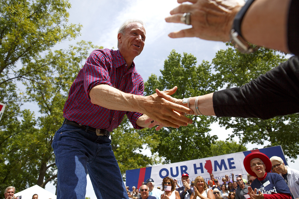 Gov. Bruce Rauner and Republicans celebrated their first Governor's Day at the Illinois State Fair in 12 years during a rally on the Director's Lawn Wednesday, Aug. 19, 2015. Rich Saal/The State Journal-Register