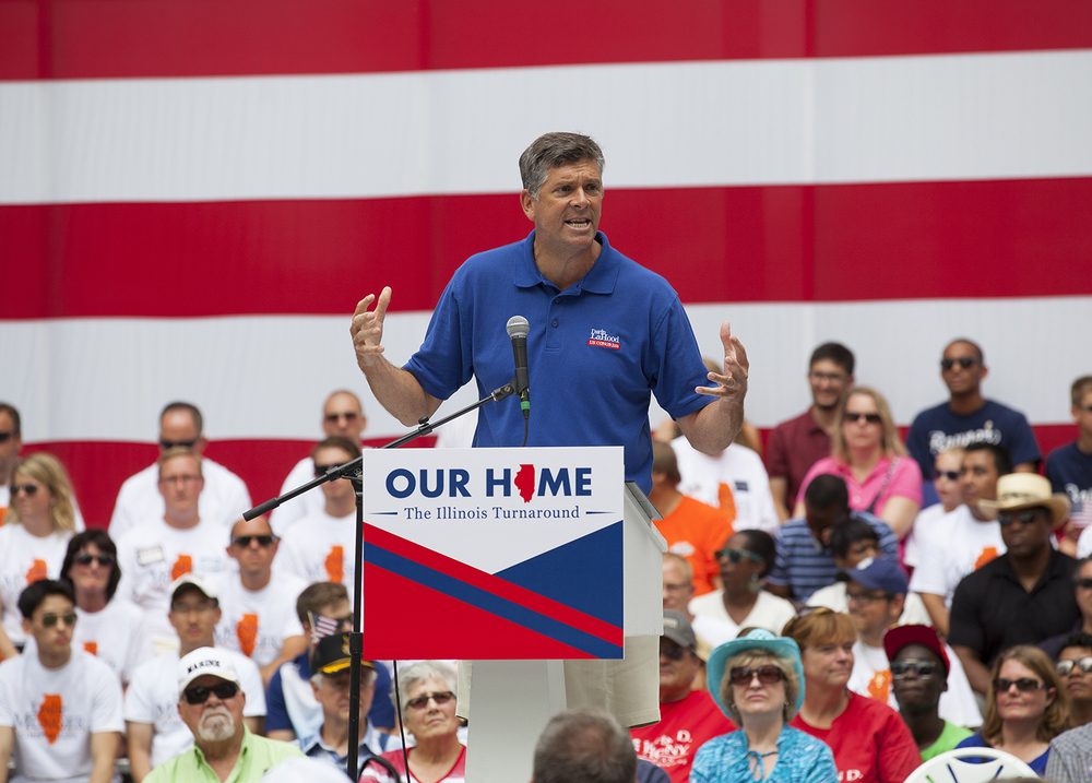 State Sen. Darin Lahood, the Republican candidate for U.S. Congress to replace former GOP Congressman Aaron Schock, speaks at theRepublican Day rally on the Director's Lawn at the Illinois State Fair Wednesday, Aug. 19, 2015. Rich Saal/The State Journal-Register