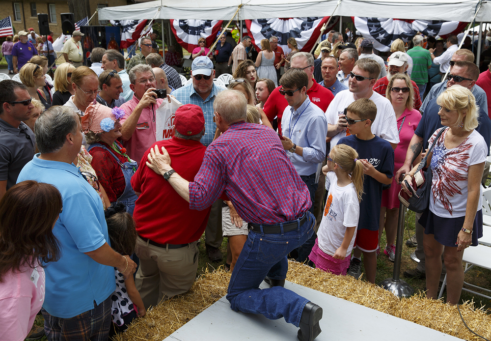 Gov. Bruce Rauner posed for pictures with supporters after he spoke at the Republican Day rally on the Director's Lawn at the Illinois State Fair Wednesday, Aug. 19, 2015. Rich Saal/The State Journal-Register