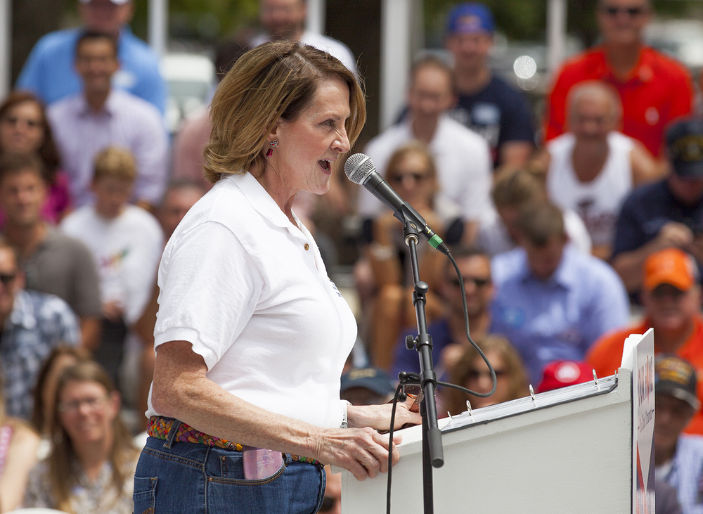 Senate Minority Leader Christine Radogno speaks at the Republican Day rally on the Director's Lawn at the Illinois State Fair Wednesday, Aug. 19, 2015. Rich Saal/The State Journal-Register