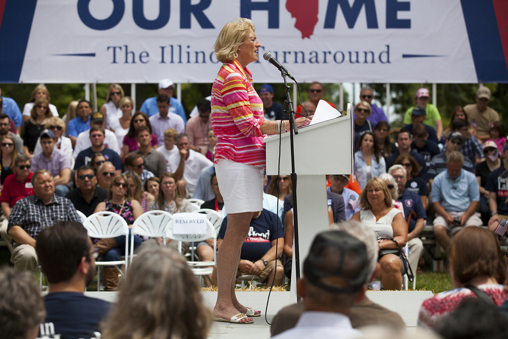 Comptroller Leslie Munger speaks at the Republican Day rally on the Director's Lawn at the Illinois State Fair Wednesday, Aug. 19, 2015. Rich Saal/The State Journal-Register