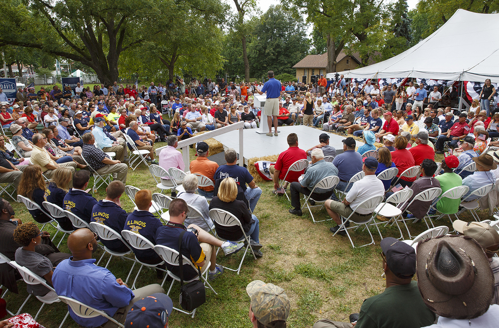 State Sen. Darin Lahood, the Republican candidate for U.S. Congress to replace former GOP Congressman Aaron Schock, speaks at the Republican Day rally on the Director's Lawn at the Illinois State Fair Wednesday, Aug. 19, 2015. Rich Saal/The State Journal-Register