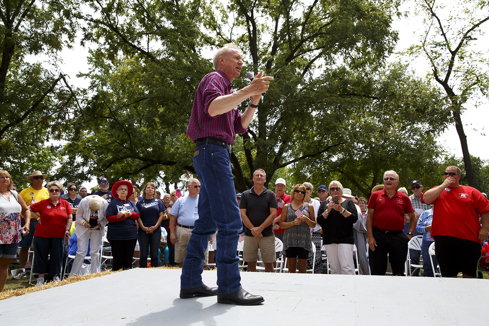 Gov. Bruce Rauner addresses the crowd at the Republican Day rally on the Director's Lawn at the Illinois State Fair Wednesday, Aug. 19, 2015. Rich Saal/The State Journal-Register