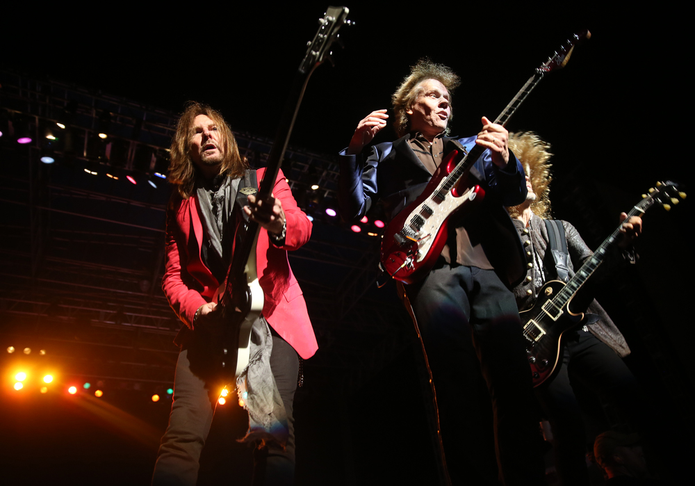 Ricky Phillips, James Young and Tommy Shaw (l-r) perform Wednesday night. The rock group Styx performed on the Grandstand Stage at the Illinois State Fairgrounds in Springfield on Wednesday evening, August 19, 2015. Tesla was the opening band for the evening. David Spencer/The State Journal-Register