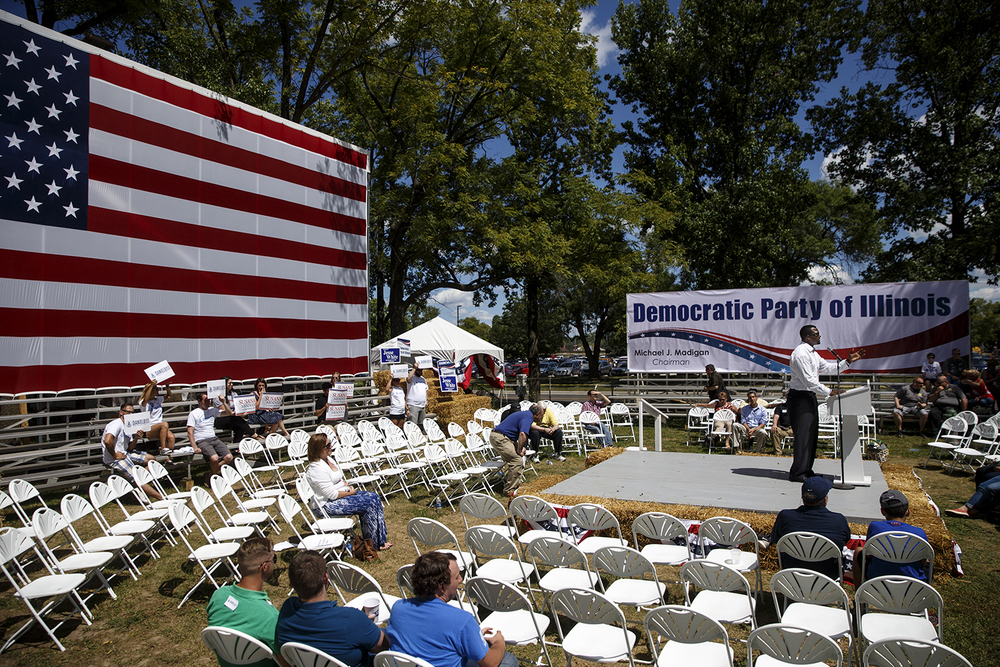 The crowd for Democrat Day on the Director's Lawn at the Illinois State Fair thinned out by the time State Sen. Napoleon Harris addressed the crowd. Ted Schurter/The State Journal-Register