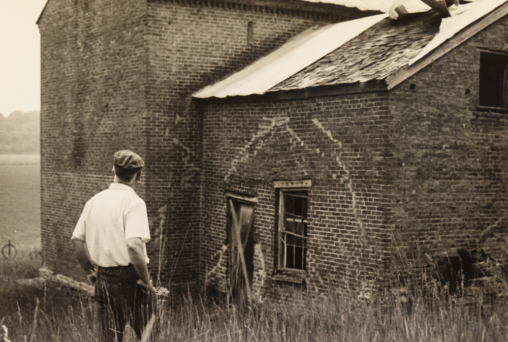 The attached kitchen quarters were still attached to the main structure of the Pensacola stagecoach stop when a photographer documented it in 1969. The 1830's era structure will be submerged if Hunter Lake is approved. Photo courtesy Sangamon Valley Collection.