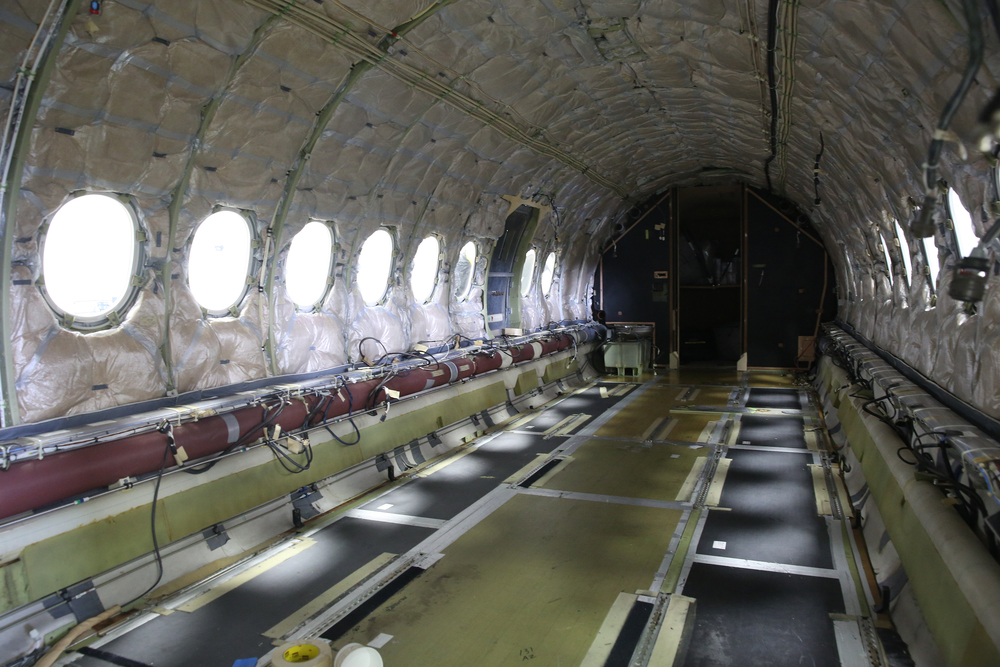 An interior view of the stripped cabin area of a Falcon 2000 corporate jet that is being completely refurbished at the airport. David Spencer/The State Journal-Register