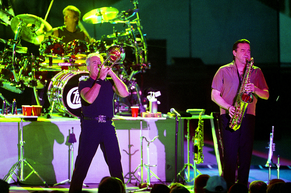 2001: Trombonist James Pankow, left, and saxophonist Walt Parazaider perform with the band Chicago. Both are founding members of the group.
