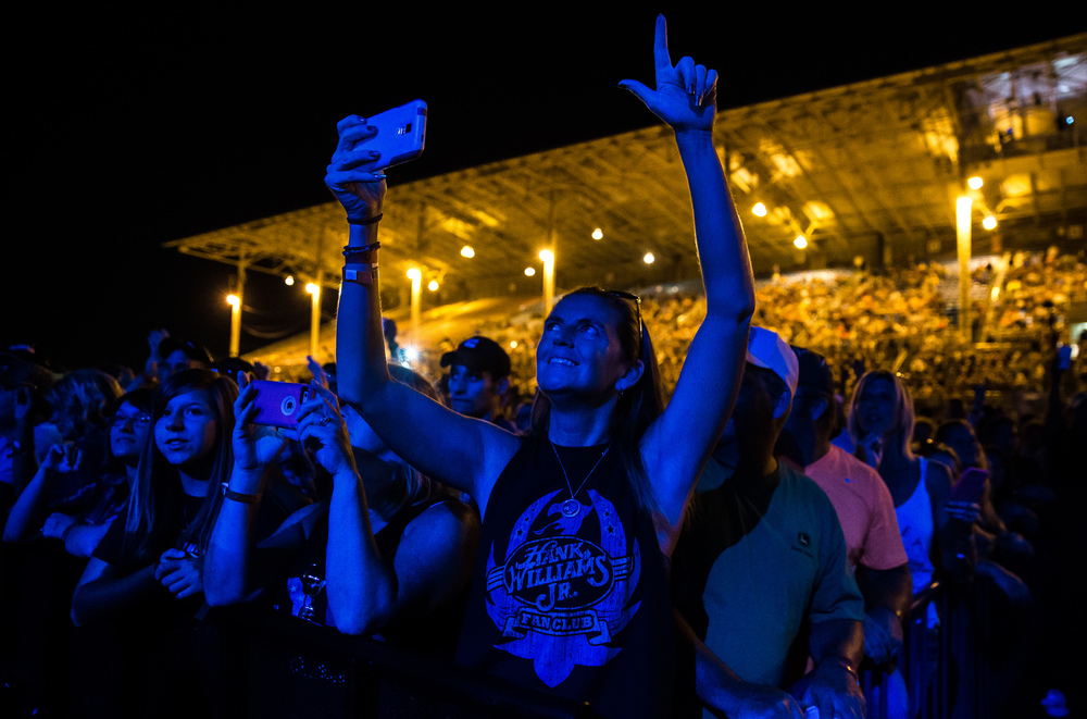 Candi Elsen drove from Cincinnati, Ohio, to see Hank Williams Jr. perform on the Grandstand at the Illinois State Fair, Friday, Aug. 21, 2015, in Springfield, Ill. Justin L. Fowler/The State Journal-Register