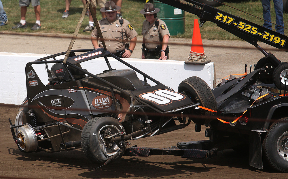 Terry Babb of Decatur, IL was the first to be knocked out of the race Saturday. David Spencer/The State Journal-Register