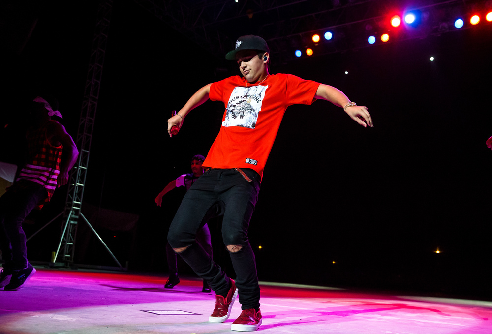 Austin Mahone performs his dance routine with his background dancers on the Grandstand stage at the Illinois State Fair, Saturday, Aug. 22, 2015, in Springfield, Ill. Justin L. Fowler/The State Journal-Register