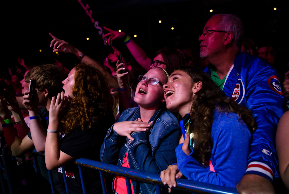 Amber Crain, 13, right, sings along with her friends as she celebrates her birthday at the Austin Mahone Grandstand concert at the Illinois State Fair, Saturday, Aug. 22, 2015, in Springfield, Ill. Justin L. Fowler/The State Journal-Register