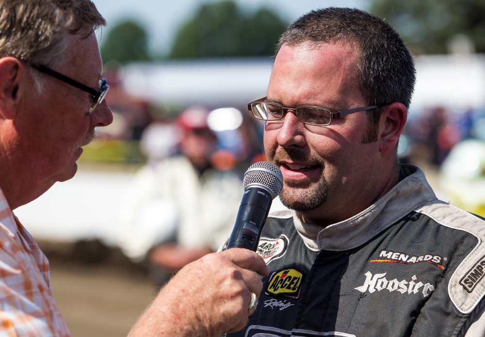 Springfield's Kelly Kovski does an interview after finishing third in his Billingsley Towing-Hoosier Tire Midwest Chevrolet in the SuperChevyStores.com 100/Allen Crowe Memorial at the Illinois State Fair, Sunday, Aug. 23, 2015, in Springfield, Ill. Justin L. Fowler/The State Journal-Register