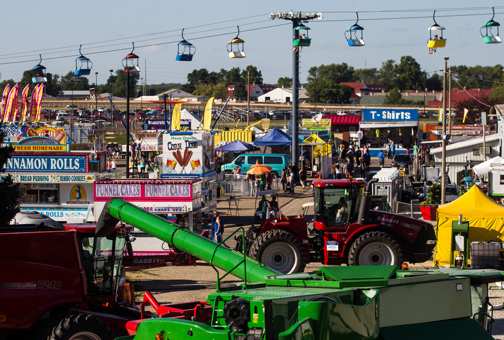 Farm machinery takes center stage on Central Avenue as the emphasis at this year's Illinois State Fair was geared towards agriculture, Sunday, Aug. 23, 2015, in Springfield, Ill. Justin L. Fowler/The State Journal-Register