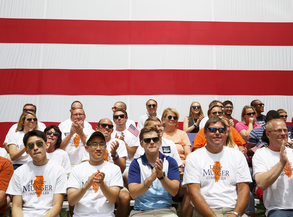 Supporters of Comptroller Leslie Munger were on hand for the Republican Day rally on the Director's Lawn at the Illinois State Fair Wednesday, Aug. 19, 2015. Rich Saal/The State Journal-Register