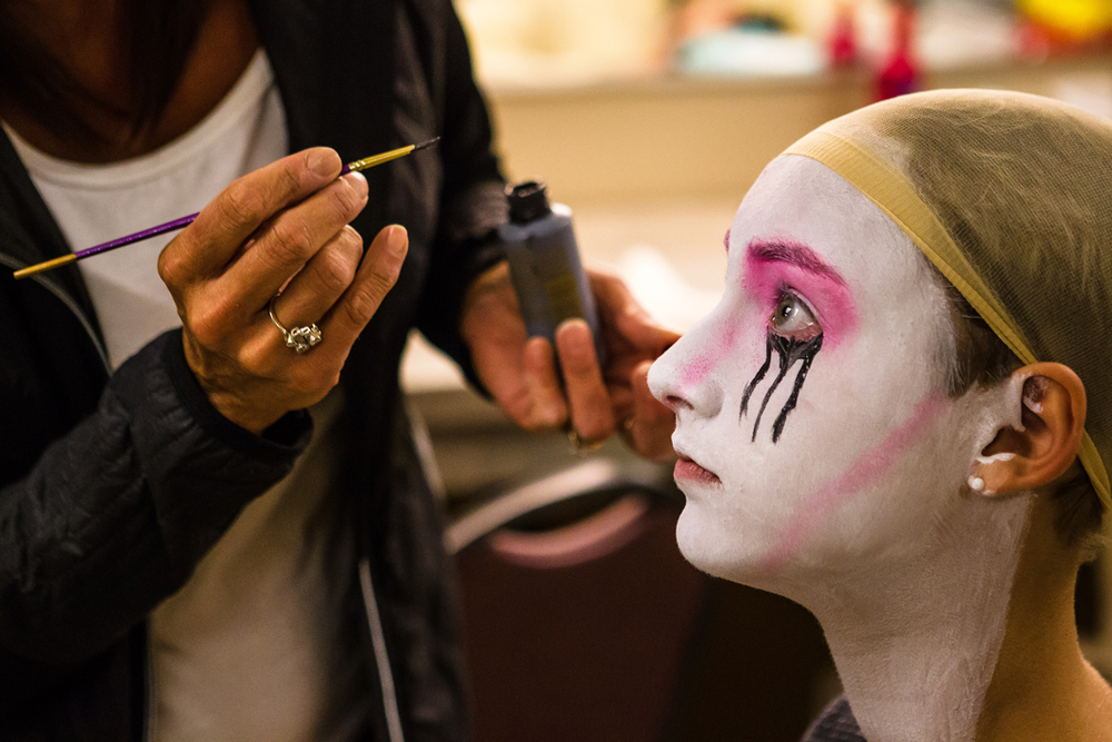 "Isabel Wottowa gets her makeup applied as she becomes the ""Crying Bride"" character prior to rehearsals for ""The Addams Family"" musical at the Hoogland Center for the Arts, Monday, Aug. 24, 2015, in Springfield, Ill. Justin L. Fowler/The State Journal-Register"