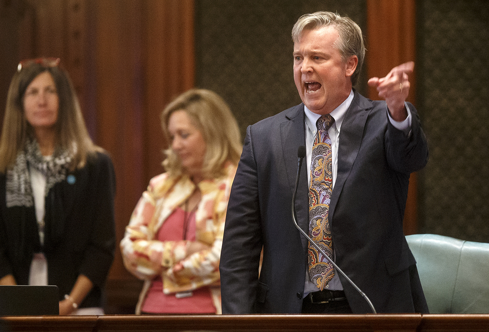 Illinois Rep. John Bradley, D-Marion, speaks passionately in favor of overriding Gov. Bruce Rauner's veto of Senate Bill 1229 Wednesday, Sept. 2, 2015. The bill, which would have removed the threat of a strike or lockout if union contract negotiations break down, failed to pass by three votes. Ted Schurter/The State Journal-Register