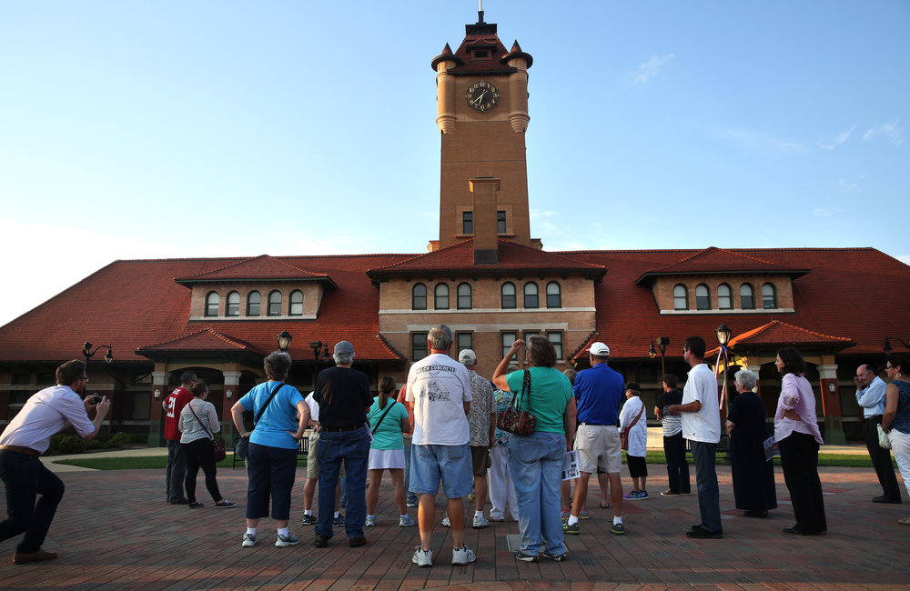 Visitors on the tour take in the backside of Union Station which opened in 1898 as the passenger terminal for the Illinois Central Railroad. The structure was designed by ICR archtect Francis T. Bacon. David Spencer/The State Journal-Register
