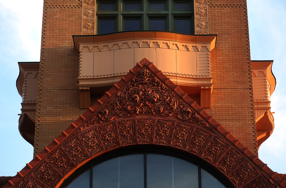 Magnificent decorative terra cotta adorns the triangular arch located on the front of Union Station, which underwent a complete renovation including the rebuilding of the original 110' clock tower in 2005 by White & Borgognoni Architects. David Spencer/The State Journal-Register