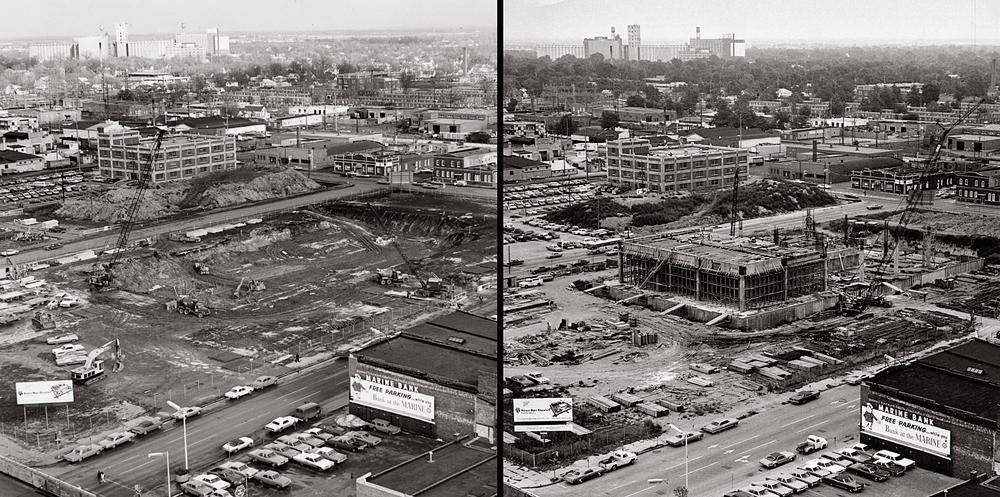 Left: View taken of Horace Mann Building construction site on Jan. 28, 1970. Right: same vantage point photographed on July 27, 1970. photos courtesy Horace Mann