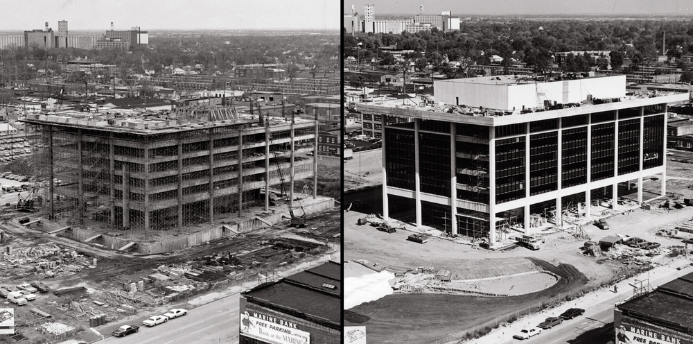 Left: View taken of Horace Mann Building construction site on March 12, 1971. Right: same vantage point photographed on Oct. 20, 1971.  photos courtesy Horace Mann