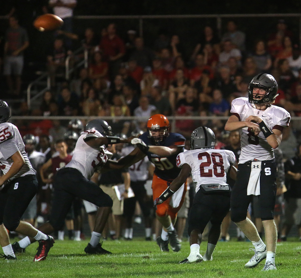 Senators quarterback Jackson Shearer finds an open man downfield. David Spencer/The State Journal-Register