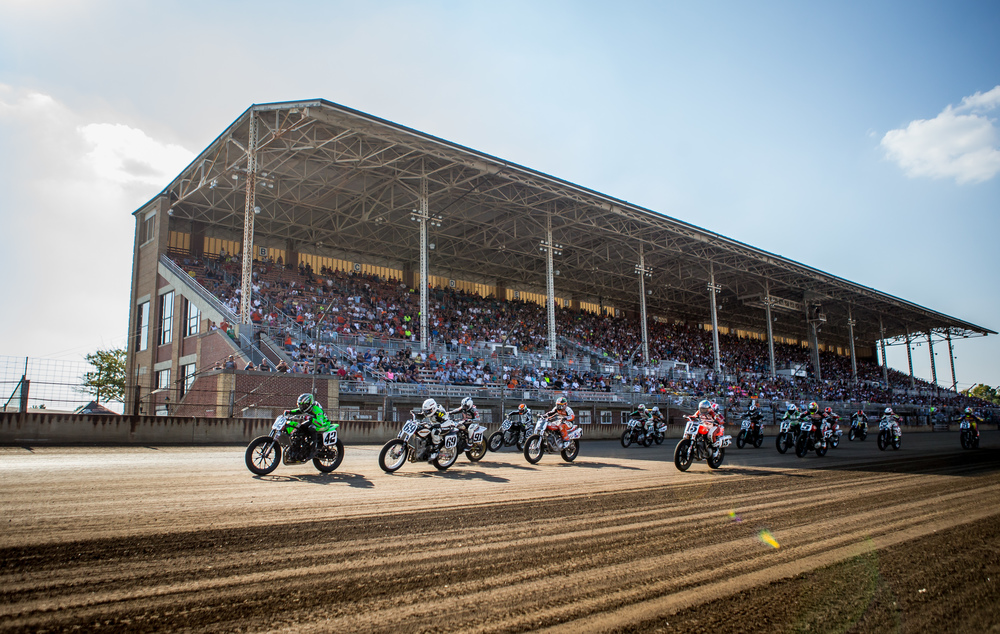 Bryan Smith leads the field out of the start on his #42 Kawasaki during the AMA Pro Flat Track Grand National Championship Springfield Mile II at the Illinois State Fairgrounds, Sunday, Sept. 6, 2015, in Springfield, Ill. Smith went on to win the race taking his sixth checkered flag at the Mile. Justin L. Fowler/The State Journal-Register