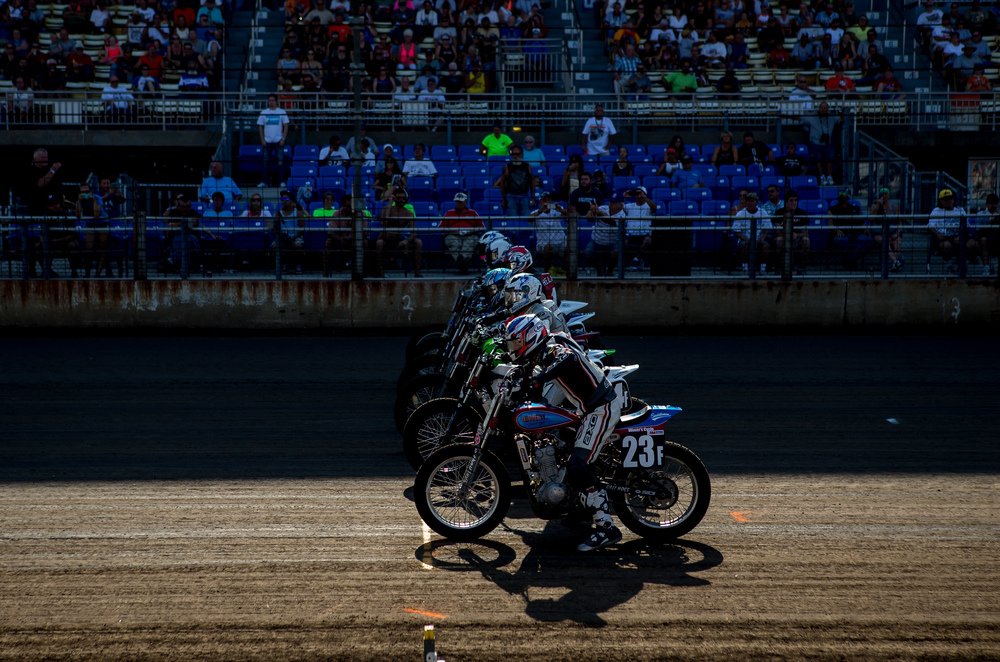 Jeffery Lowery brings his #23F Kawasaki to the starting line for the AMA Pro GNC2 race during the AMA Pro Flat Track Grand National Championship Springfield Mile II at the Illinois State Fairgrounds, Sunday, Sept. 6, 2015, in Springfield, Ill. Justin L. Fowler/The State Journal-Register