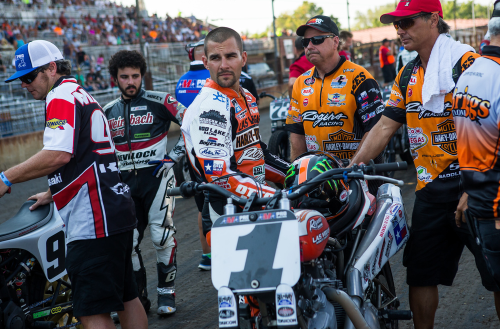 Jared Mees prepares to race his #1 Harley-Davidson during the AMA Pro Flat Track Grand National Championship Springfield Mile II at the Illinois State Fairgrounds, Sunday, Sept. 6, 2015, in Springfield, Ill. Justin L. Fowler/The State Journal-Register