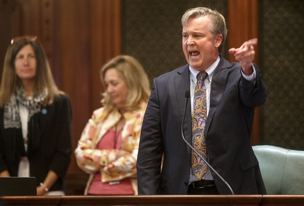 Illinois Rep. John Bradley, D-Marion, speaks passionately in favor of overriding Gov. Bruce Rauner's veto of Senate Bill 1229 Wednesday, Sept. 2, 2015. The bill, which would have removed the threat of a strike or lockout if union contract negotiations break down failed to pass by three votes. Ted Schurter/The State Journal-Register