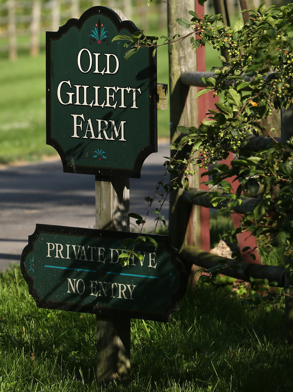 The main entrance sign to Old Gillette Farm from S. Gillette St. in Elkhart seen on Monday, July 20, 2015. David Spencer/The State Journal-Register