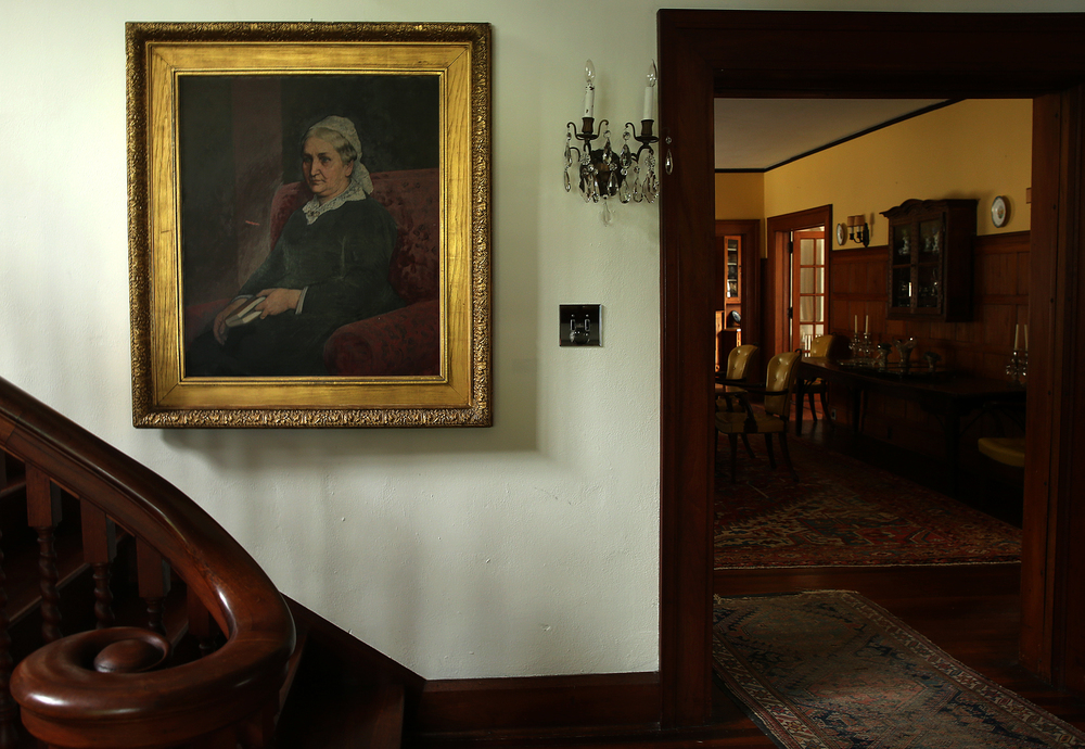 An oil painting of Lemira Gillett, (1821 - 1901) who was the wife of John Dean Gillett, hangs in the foyer below the main staircase to the main house seen on Tuesday, Sept. 8, 2015. David Spencer/The State Journal-Register