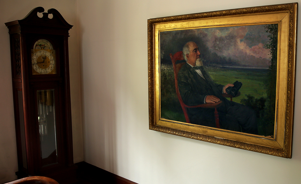 An oil painting of John Dean Gillett (1819 - 1888) hangs on a wall atop the staircase to the main house seen on Tuesday, Sept. 8, 2015. David Spencer/The State Journal-Register