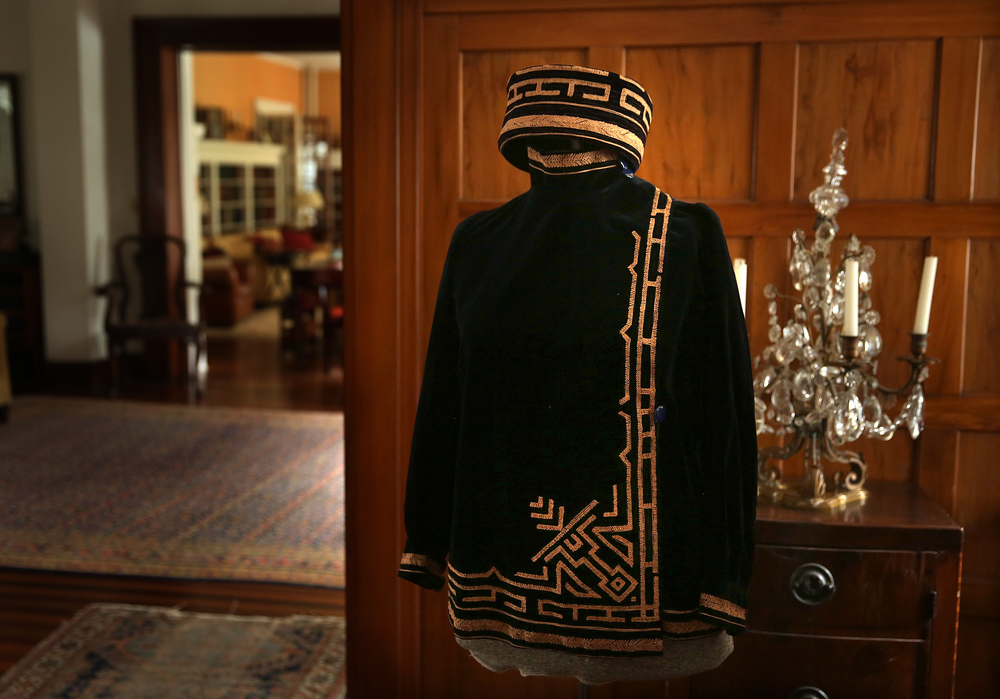 A matching jacket and hat worn by Nina Gillett (1854 - 1938) dating to the 1920's when she lived in Paris is on display on the first floor of the main house and seen on Tuesday, Sept. 8, 2015. This will be one of the few clothing articles auctioned in September-most of the clothing will be auctioned next year. David Spencer/The State Journal-Register