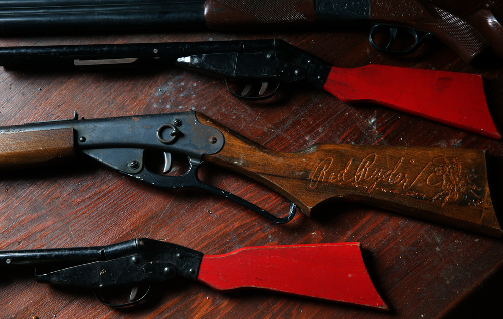 Vintage BB guns, including a Red Ryder model at center are seen in the attic playroom on Tuesday, Sept. 8, 2015. David Spencer/The State Journal-Register