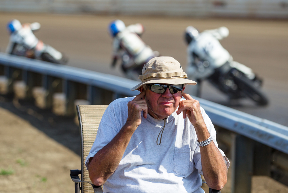 "Alan ""Thunder"" Yung, with the Belleville Enduro Team, plugs his ears as the riders head towards turn two as he works the corner in a heat race during the AMA Pro Flat Track Grand National Championship Springfield Mile II at the Illinois State Fairgrounds, Sunday, Sept. 6, 2015, in Springfield, Ill. Justin L. Fowler/The State Journal-Register"