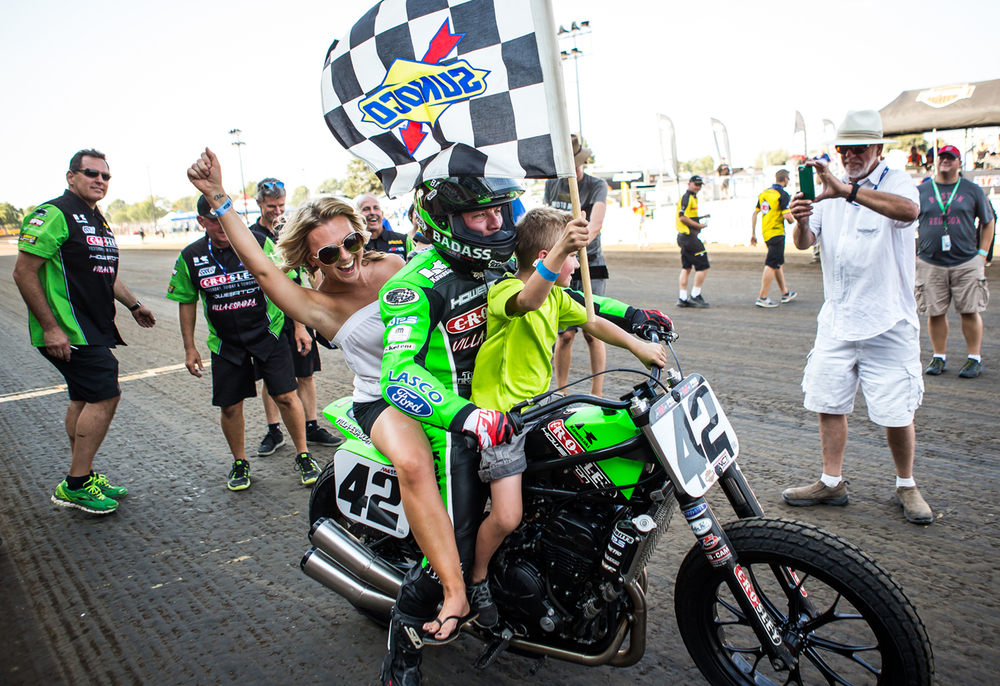 Bryan Smith takes his sister, Lindsay Murphy, and her son, Acein, for the victory lap after winning his sixth AMA Pro Flat Track Grand National Championship Springfield Mile II race at the Illinois State Fairgrounds, Sunday, Sept. 6, 2015, in Springfield, Ill. Justin L. Fowler/The State Journal-Register