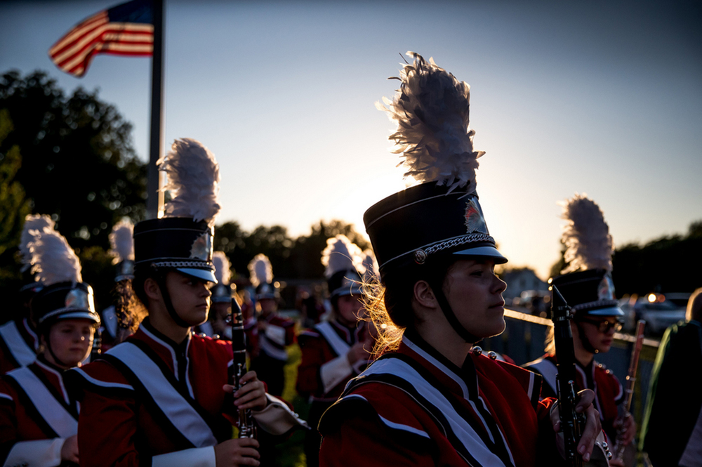 The Jacksonville High School Marching Band takes the field for the Sacred Heart-Griffin vs. Jacksonville football game at Kraushaar-Rosenberger Field, Friday, Sept. 11, 2015, in Jacksonville, Ill. Justin L. Fowler/The State Journal-Register