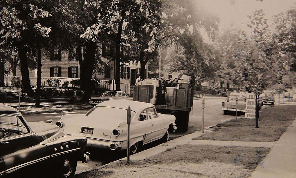 1961: Eighth Street was open to vehicular traffic with metered parking on both sides of the street in the Lincoln Home neighborhood. Courtesy Sangamon Valley Collection at Lincoln Library